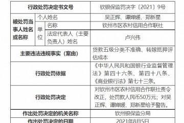 钦州市区农村信用合作联社被罚50万元贷款五级分类不准确转嫁抵押评估成本